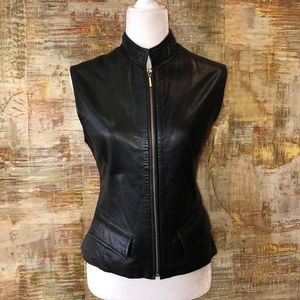 Leather zip vest with front pockets
